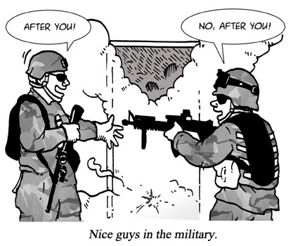 Nice guys in the military cartoon