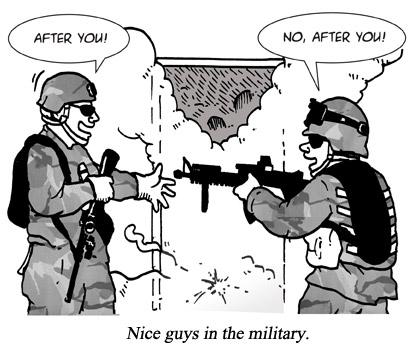 Nice guys in the military cartoon